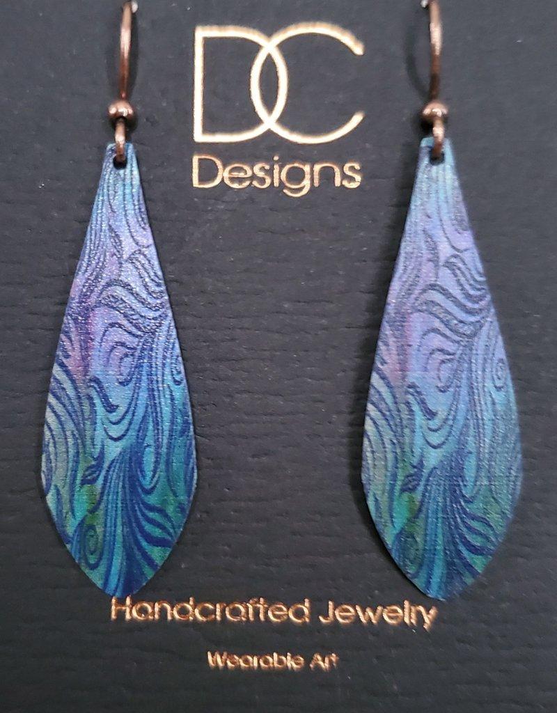 Illustrated Light Elongated Teardrop Giclee Earrings