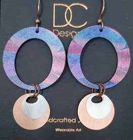 Illustrated Light Open Circle Drop Giclee & Metal Earrings