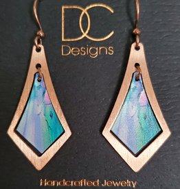 Illustrated Light Elongated Diamond Copper & Giclee Earrings