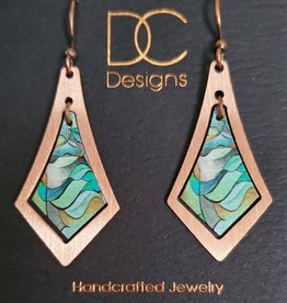Illustrated Light Elongated Diamond Copper & Giclee Earrings