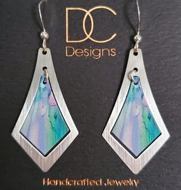 Illustrated Light Elongated Diamond Silver & Giclee Earrings