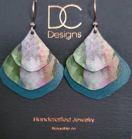 Illustrated Light Double Pear Shaped Pattern Giclee Discs Over Solid Earrings