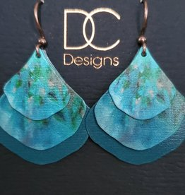 Illustrated Light Double Pear Shaped Giclee Discs Over Solid Earrings