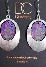 Illustrated Light Egg Shape Silver & Giclee Design Earrings
