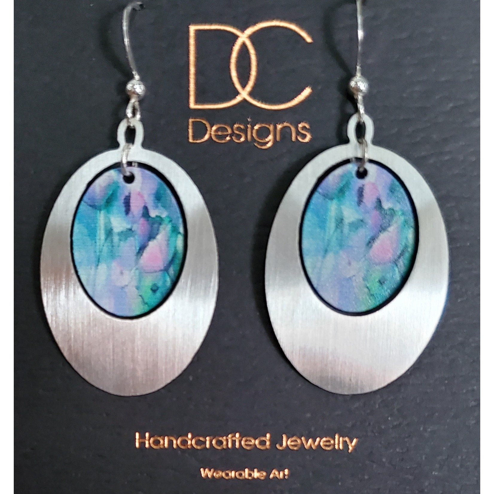 Illustrated Light Egg Shape Silver & Giclee Design Earrings                                        PinkGrnPurp