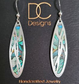 Illustrated Light Long Oval Silver & Giclee Disc Earrings