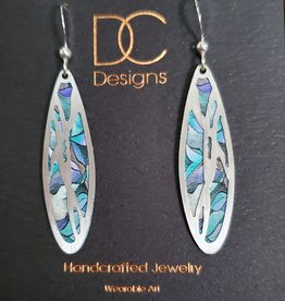 Illustrated Light Long Oval Silver & Giclee Disc Earrings in TurqPurpl