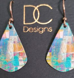 Illustrated Light Single Teardrop Giclee Earrings