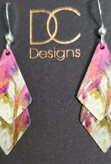 Illustrated Light Double Spade Giclee Disc Earrings in PinkWht