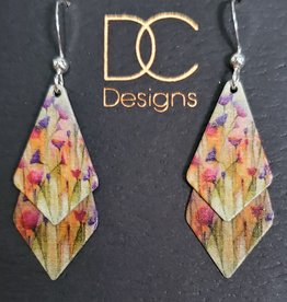 Illustrated Light Double Spade Giclee Disc Earrings