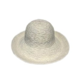 Cotton Blend Large Turn Up Brim Hat in White