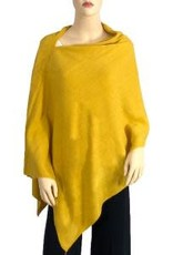 Cashmere Feel Poncho w/Ribbed Trim in Mustard
