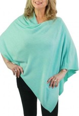 Cashmere Feel Poncho w/Ribbed Trim in Aqua