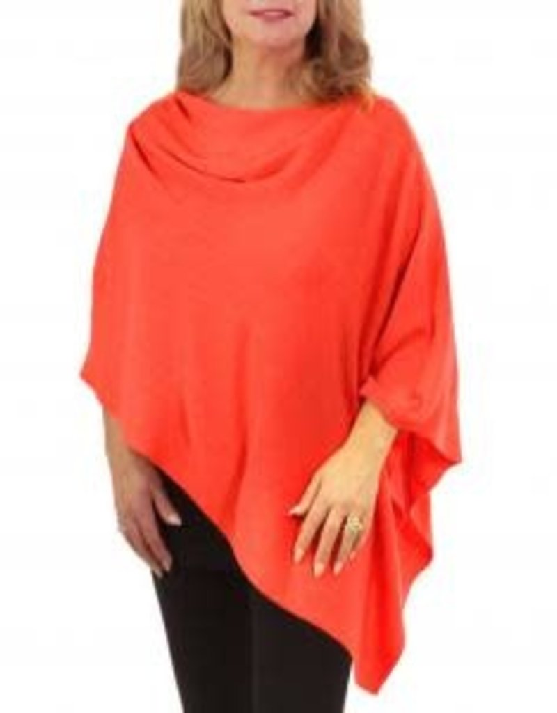 Cashmere Feel Poncho w/Ribbed Trim in Coral