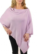 Cashmere Feel Poncho w/Ribbed Trim in Lavender