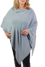 Cashmere Feel Poncho w/Ribbed Trim in Light Grey