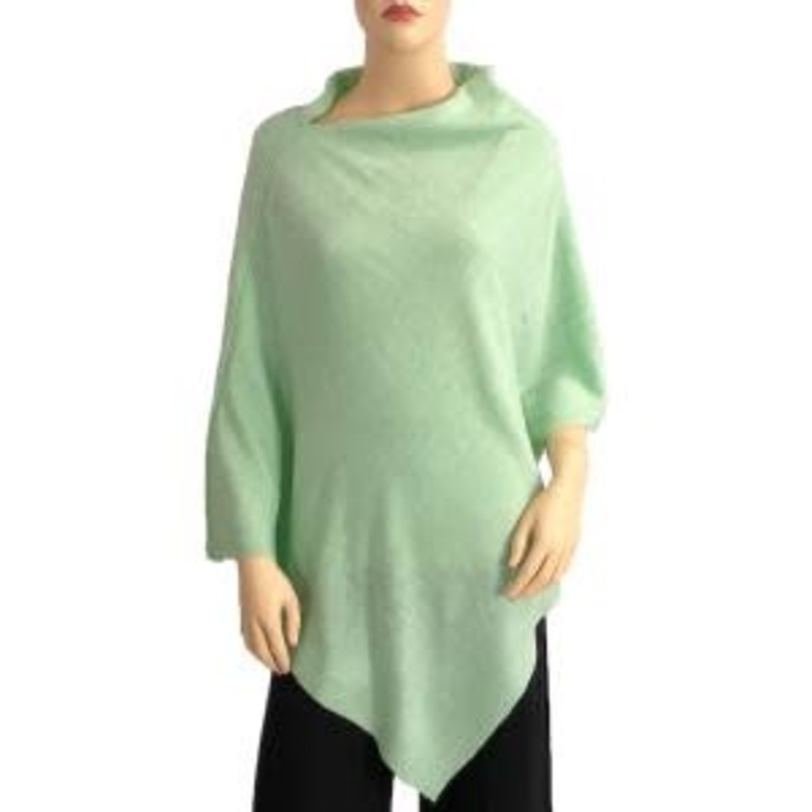Cashmere Feel Poncho w/Ribbed Trim in Mint