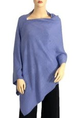 Cashmere Feel Poncho w/Ribbed Trim in Periwinkle