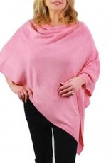 Cashmere Feel Poncho w/Ribbed Trim in Pink