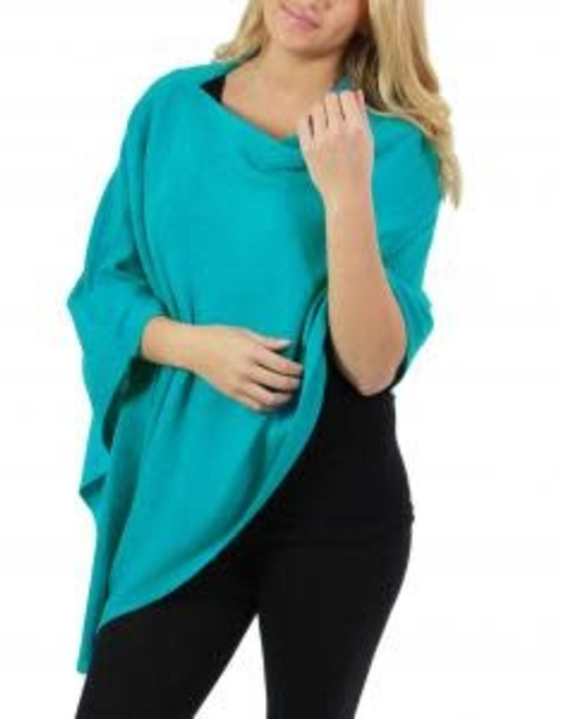 Cashmere Feel Poncho w/Ribbed Trim in Turquoise