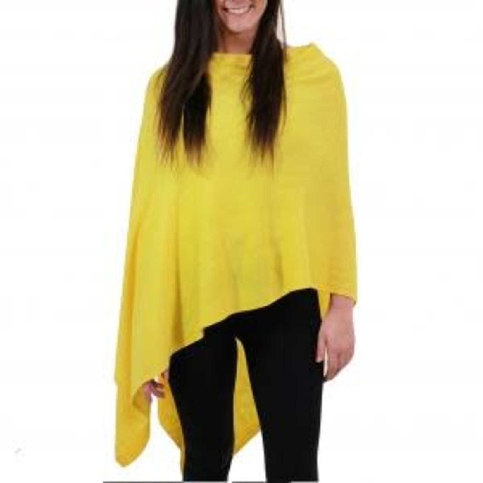 Cashmere Feel Poncho w/Ribbed Trim in Yellow