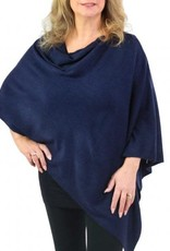 Cashmere Feel Poncho w/Ribbed Trim in Navy