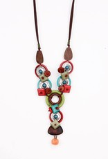 Treska Multi-Color Linked Discs Pendant Necklace w/Leather Cord