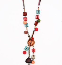 Treska MultiColor Beaded and Leather Color Corded Necklace