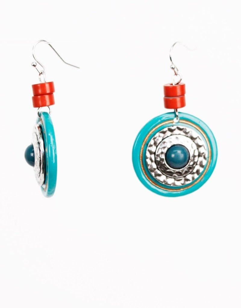 Treska Turquoise and Hammered Metal Disc Drop Earrings