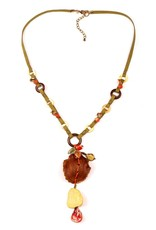 Treska BALI HAI Wood Shell and Ceramic Pendant Necklace