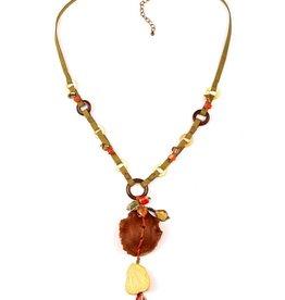 Treska BALI HAI Wood Shell and Ceramic Pendant Necklace