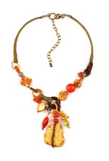Treska BALI HAI Ceramic Pendant with Beads and Leather Cord Necklace