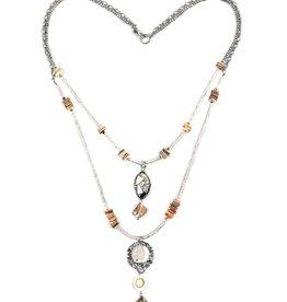 Treska Calypso Shell/Metal/Quartz Hi Lo Necklace