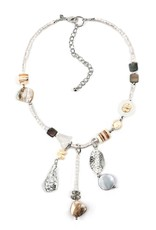 Treska Calypso Shell/Quartz/Metal Short Y Cluster Necklace