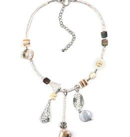 Treska Calypso Shell/Quartz/Metal Short Y Cluster Necklace