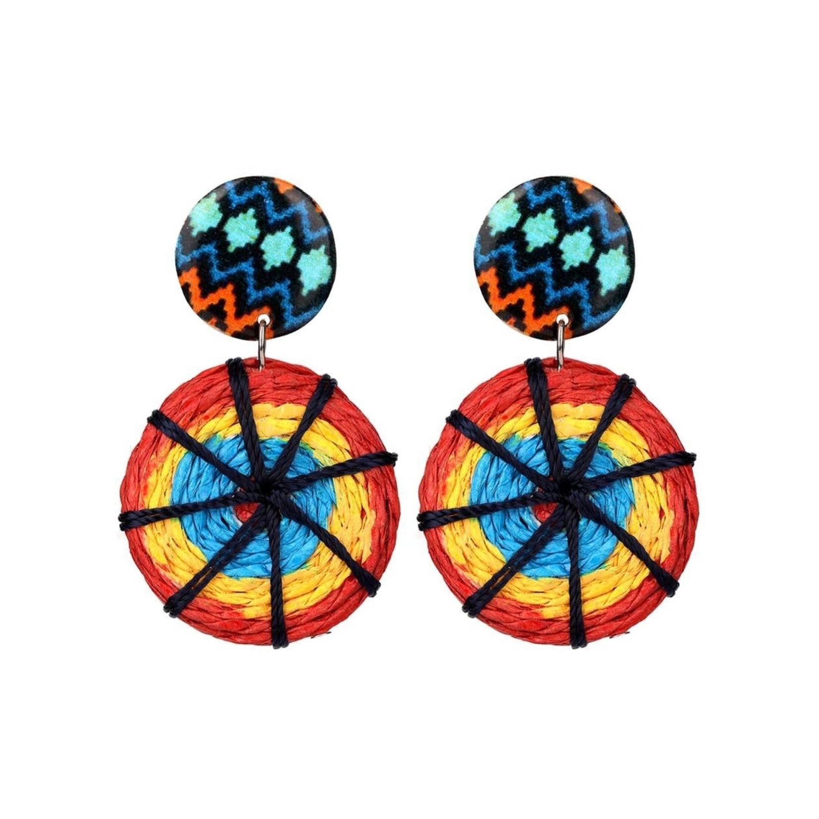 Treska Allegra Printed Top and Straw Disc Post Earrings