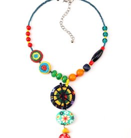 Treska Allegra Short Beaded and Straw Disc Pendant Necklace