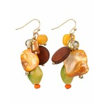 Treska Bali Hai Ceramic/Shell/Wood Short Cluster Drop Earrings
