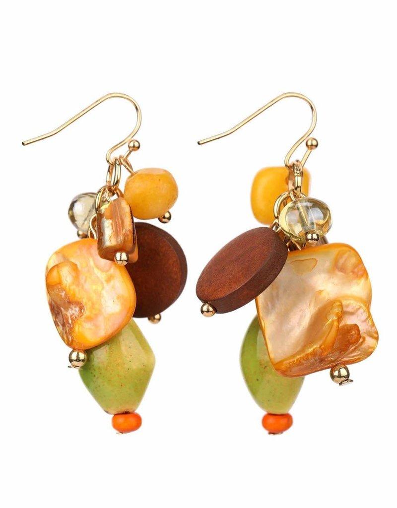 Treska Bali Hai Ceramic/Shell/Wood Short Cluster Drop Earrings