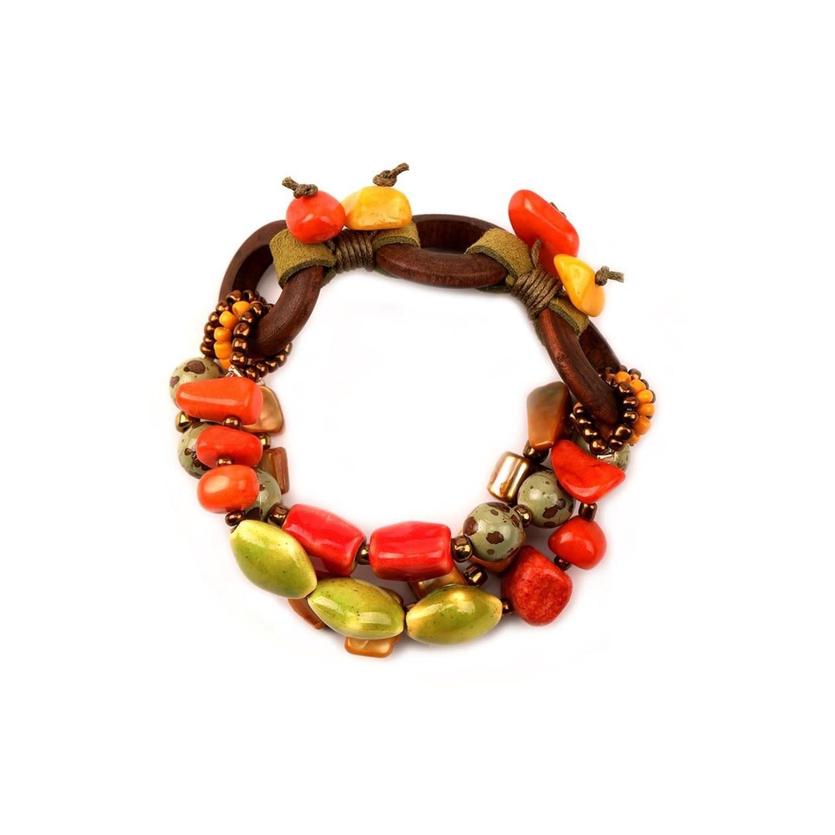 Treska Bali Hai Ceramic/Wood/Shell Bead and Cord Stretch Bracelet