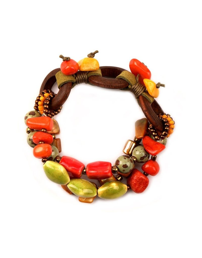 Treska Bali Hai Ceramic/Wood/Shell Bead and Cord Stretch Bracelet