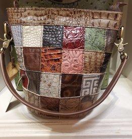 Treska Patch Bucket Bag w/Zipper Top/Crossbody