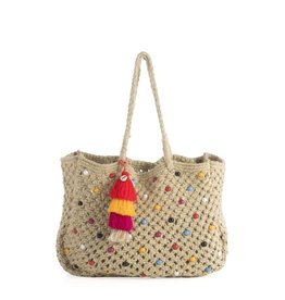 Shiraleah Chicago Luana Straw Tote, Natural w/Jute and PVC Beads