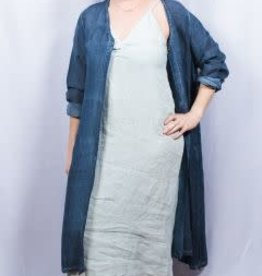 Dolma One Button Linen Duster O/S Navy