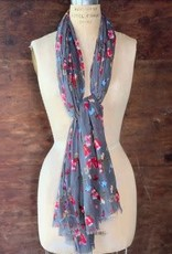 Dolma 100% Cotton Bluebird and Floral Scarf w/ Small Fringe Gray
