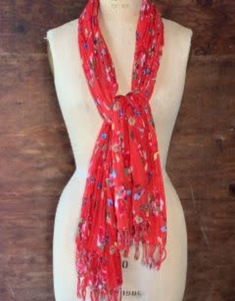 Dolma 100% Cotton Bluebird and Floral Scarf w/ Small Fringe Red