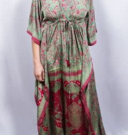 Dolma Mint and Fuschia Paisley Kaftan w/Waist Cinching O/S