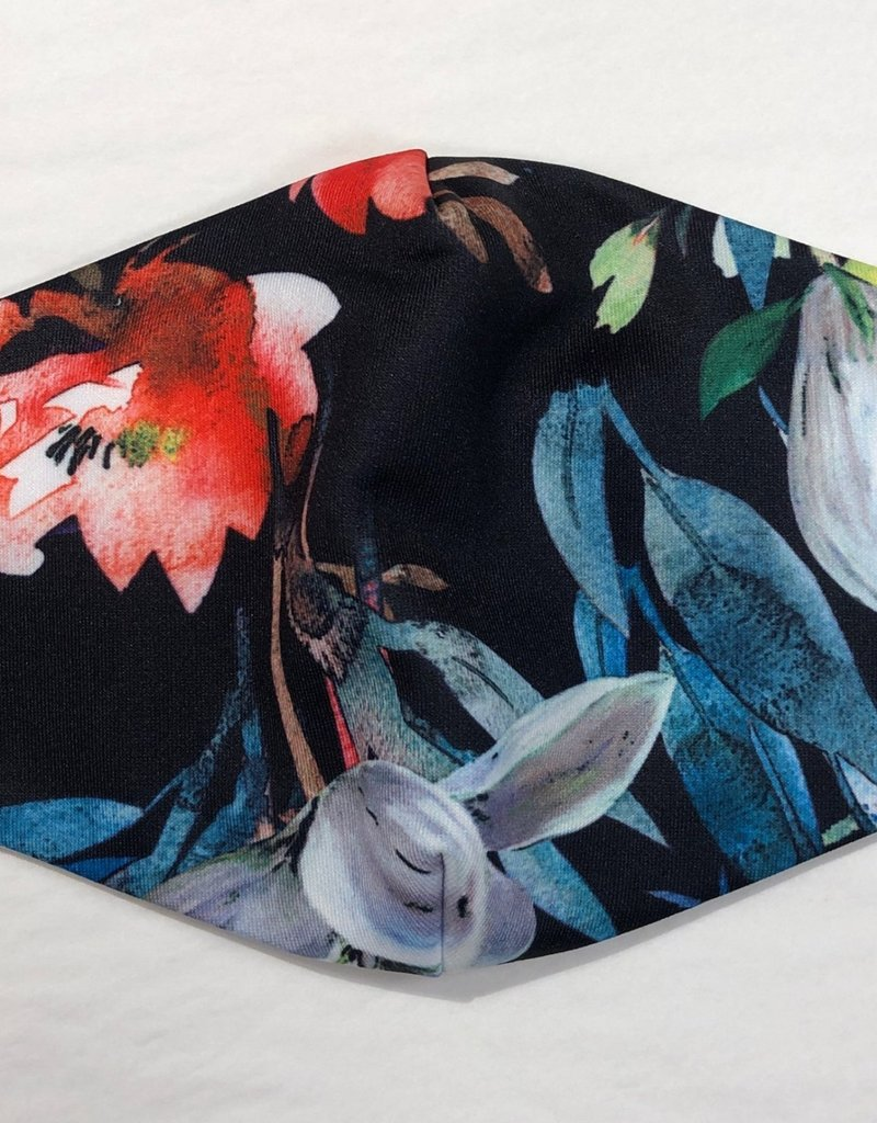 Andria Lieu Floral and Feather Face Mask - 3 Ply Fabric w/Filter