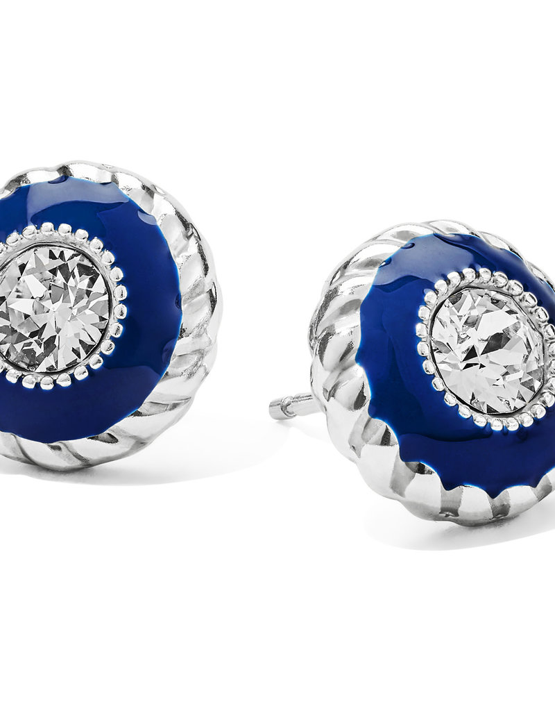 Brighton Halo Eclipse Post Earrings Silver-Blue