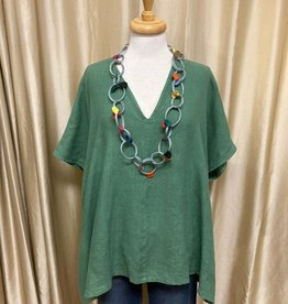Bryn Walker Baxter Bamboo Cotton V-Neck Short Sleeve Tunic
